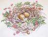 Nest with Eggs Fruit & Leaf Needlepoint Canvas