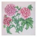 Pink Cabbage Rose Floral Needlepoint Canvas