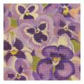 Purple Pansies Floral Needlepoint Canvas