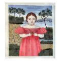 Child with Bird Portrait Needlepoint Canvas