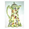 Yellow & Green Coffee Pot Needlpoint Canvas
