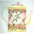 Pink & Yellow Teapot Needlepoint Canvas