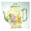 Yellow Floral Teapot Needlepoint Canvas