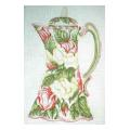 Pink & Green Teapot Needlepoint Canvas