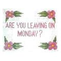 Monday Sign Needlepoint Canvas